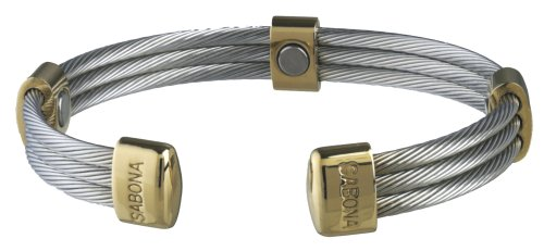 Sabona 36370 Trio Cable Stainless/Gold Magnetic Bracelet, Large