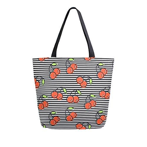 JinDoDo Canvas Bag Cherry Striped Pattern Reusable Tote Bag Women Handbag for Shopping Travel Beach School