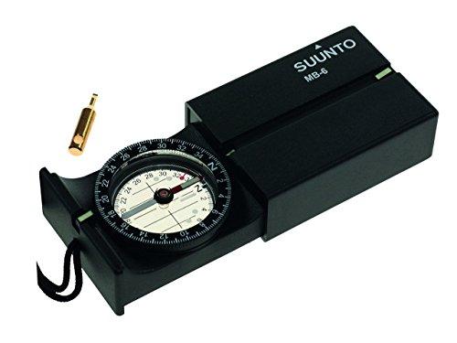 SUUNTO MB-6NH Kompass, 360 Grad Einteilung, Direktpeilung, abklappbarer Spiegel, Dämmerungsmarken, Tragekordel