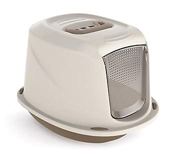 10586 Maison de toilette pour chats GALAXY 45x36x31,5 cm avec palier pour nettoyer le poil (Beige)