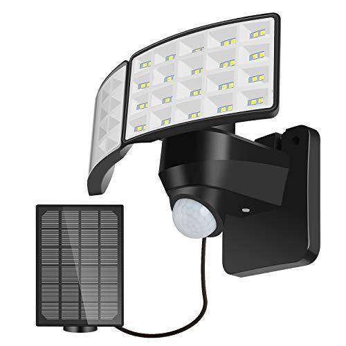 BOSWEE Luz de Seguridad Solar al Aire Libre Luz de Sensor de Movimiento Solar LED 1600LM con 2 Cabezales Ajustables, 5500K, IP65 a Prueba de Agua Proyector para PatioTrasero, Camino & Patio