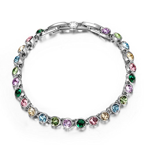 QIANSE White Gold Plated Tennis Bracelet Multicoloured Swarovski Crystals Fashion Jewelry for Women Birthday Gifts for Women Girls Daughter Sister Friends for Her