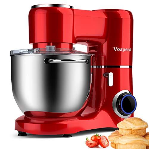 Impastatrice Planetaria 1500W 8Litri Vospeed Robot da Cucina con ciotola di acciaio inossidabile, frusta, gancio per impastare, frusta per dolci, lavabile in lavastoviglie (rosso)