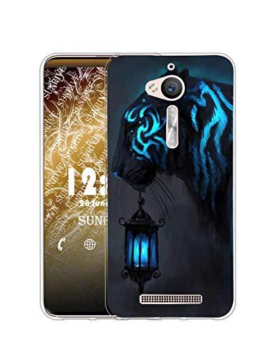 Sunrive Funda Compatible con ASUS Zenfone Go ZB500KL, Silicona Slim Fit Gel Transparente Carcasa Case Bumper de Impactos y Anti-Arañazos Espalda Cover(Q Tigre 4)