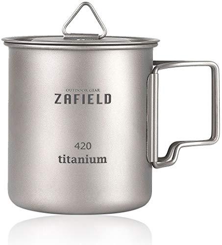 [ZAFIELD] チタンマグカップ チタンマグ 蓋付き キャンプ ソロキャンプ チタンカップ (420ml)