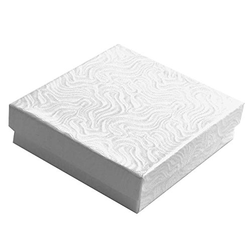 Swirl White Cotton Filled Jewelry Boxes #33 - Pack of 100