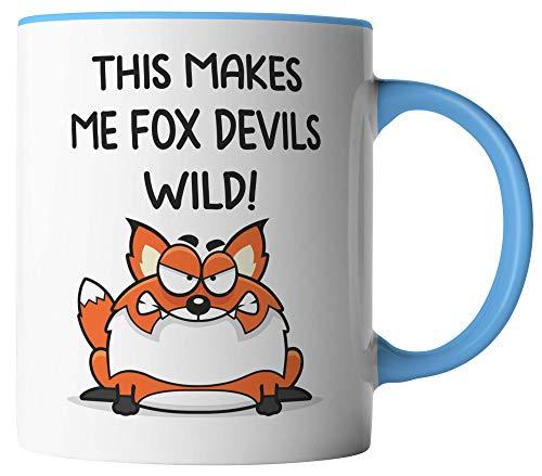 vanVerden Tasse - This makes me Fox Devils wild! - beidseitig Bedruckt - Kaffeetassen, Tassenfarbe:Weiß/Blau
