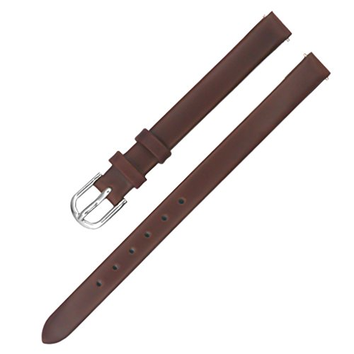 IVAPPON 6mm Solid Brown Smooth Italian Calfskin Watch Bands for Women(Silver Buckle)