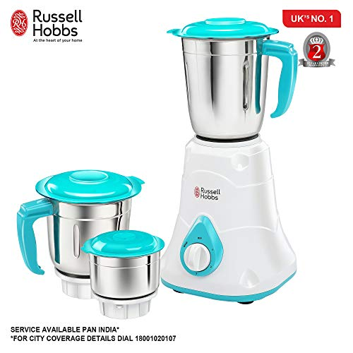 Russell Hobbs Livia 550-Watt Mixer Grinder with 3 Jars (White)
