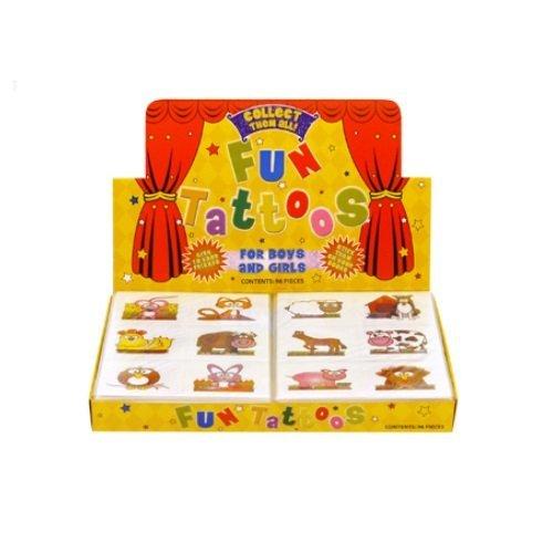 48 x Farm Animals Mini Fun Tattoos (Packs of 12) Wholesale Box