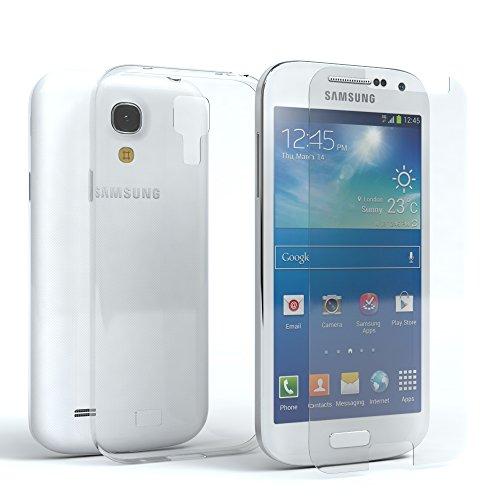 EAZY CASE Silikonhülle und Panzerglas im Set kompatibel mit Samsung Galaxy S4 Mini I Bildschirmschutzglas, Panzerglas nur 0,3 mm 9H Festigkeit, Schutzhülle Ultra dünn, Silikon Hülle, Transparent/Kristallklar