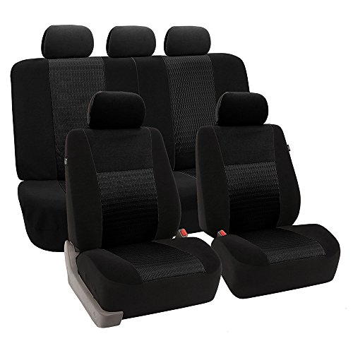 FH GROUP Universal Fit Full Set Trendy Elegance Car Seat Cover, (Black) (FH-FB060115, Airbag Compatible and Split Bench, Fit Most Car, Truck, SUV, or Van)