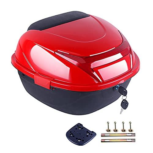 WANGPP Universal Caja Superior para Motocicleta,Caja Trasera De Resistente Y Duradera,Caja Superior para Almacenamiento De Equipaje para Casco,con Respaldo Suave Y Luz De Advertencia Nocturna.