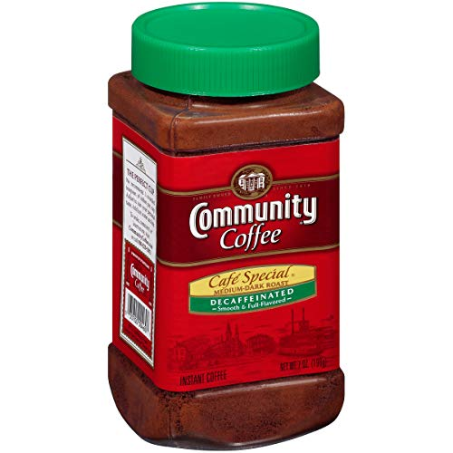 Community Coffee Café Special Decaf Medium Dark Roast Premium Instant 7 Oz Jar (4...