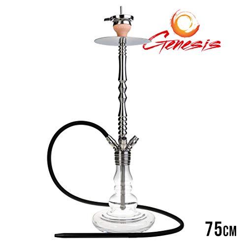 Genesis Shisha 750 - clear 1 | Wasserpfeife mit zerlegbarer Rauchsäule aus Edelstahl