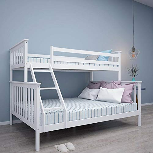 Bunk Beds For Kids Bunk Bed 4 Feet 6 Triple Bed Solid White Wooden Bunk Bed Frame Bedroom Home Sleep For Kids/Adult Children Bed Frame With Stairs (4 ft 6 White Triple Bed)