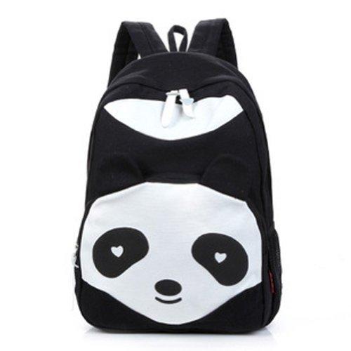 Gleader delle donne Panda Style Zaino Scuola Borse Canvas Bookbag Zaino - nero
