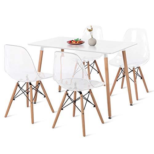 DORAFAIR Mesa Rectangular de Cocina y 4 sillas Transparentes, Juego de sillas de Comedor Moderna Nórdica Patas de Madera