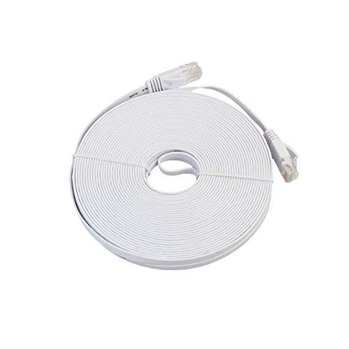 SZXCX Cable LAN de Red Ethernet Plano CAT6e Cable de conexión de Cable Ethernet para computadora portátil de transmisión de Alta Velocidad para Oficina en casa - Blanco - 15 m