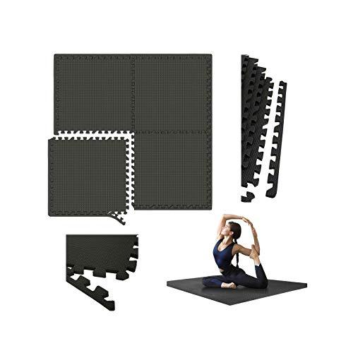 Schutzmatten Set 4 STÜCK 60 x 60cm Puzzlematte Bodenschutz Matte Puzzle Bodenschutzmatten Unterlegmatte   Fitnessmatte turnmatte Sportmatte Trainingsmatte Boden Schutz, Sport Fitnessraum, Schwarz