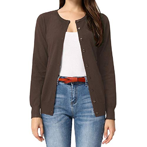 GRACE KARIN Damen Basic Strickjacke Casual Kurz Cardigan Langarm Button Down Rundhals Cardigan XL CLAF1006-11