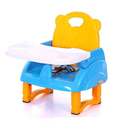 JWIL Kinderschreibtisch Fütterung Esstischstuhl Baby, Kleinkind Faltbarer Hochstuhl Abnehmbares Tablett Höhenverstellbarer Reisesitz (Color : Blue, Size : 40 * 30 * 48cm)