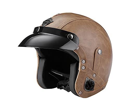Motocicleta retro medio casco hombres y mujeres calle alemana estilo retro cara abierta medio casco gorra de calavera La certificación ECE es adecuada para ciclomotores B,L