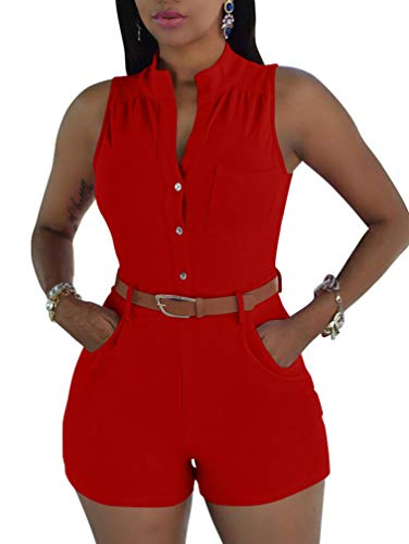 XXTAXN Women's Sexy V Neck Rompers One Piece Short Jumpsuit with Belt and Pockets Red