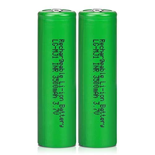3.7V LG-MJ1 Rechargeable Batteries High Capacity 3500mAh 3.7 Volt Li-ion Battery, Veckuty 3.7v Lithium ion Button Top Batteries for Fan Flashlight Headlamp (2 Pack)