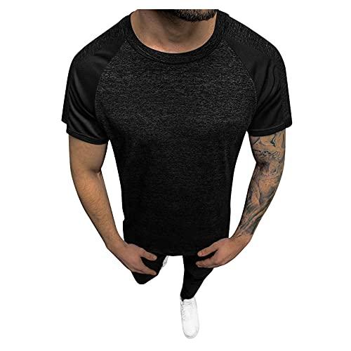 Julhold Freizeithemden Tops Herrenhemden Herren Sommer Rundhalsausschnitt T-Shirt Sport-t-Shirt Kurzarmshirt Basic Shirt Größe M-3XL(Schwarz-2,L)