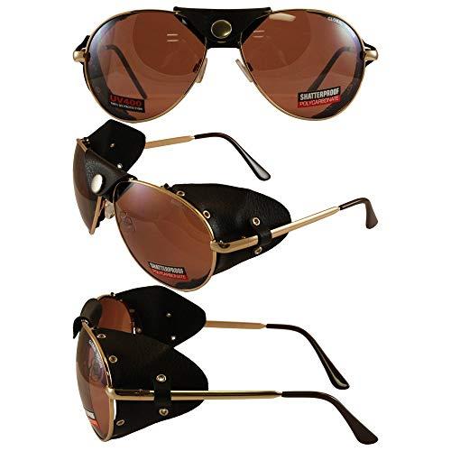 Global Vision Aviatore con Finitura a Specchio e Pelle Occhio Guardia (Gold Frame/Brown Lens)