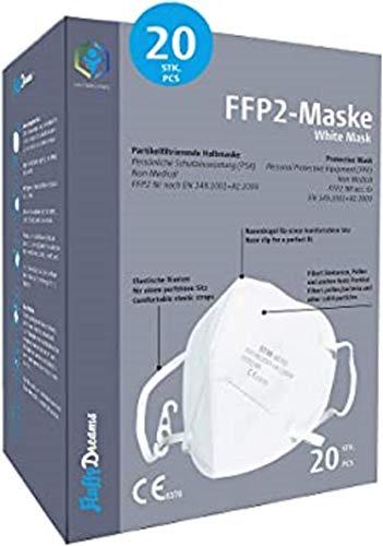 FFP2 Partikelfiltrierende Halbmaske Mund-Nasen-Schutz Maske | FFP2 Atemschutzmaske I 4-lagige Maske CE Zertifikat Mundschutzmaske I 20 Stück EINZELVERPACKT I Weiss