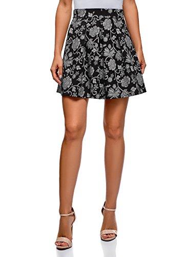 oodji Ultra Mujer Falda Estampada con Pliegues, Negro, ES 42 / L