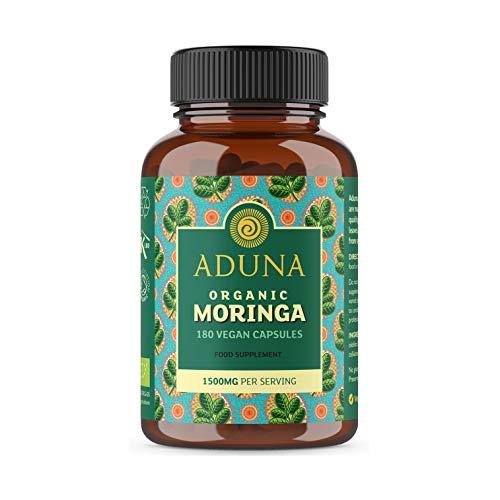 Aduna 100% Pure Organic Moringa Capsules 1500mg | 180 Vegan Capsules | High Protein, Nutrient Rich Moringa Supplements