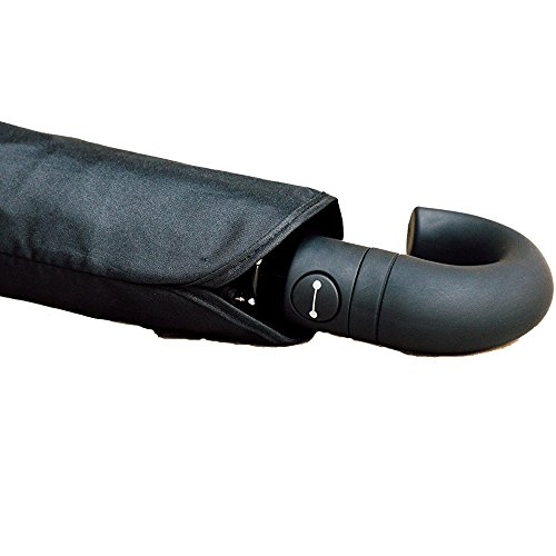 Lovallaire Reise-Regenschirm, groß, windabweisend, 137 cm, automatisch, kompakt, Schwarz