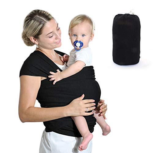 Fular Portabebés Elástico Gris Portador de Bebé, HyAdierTech Pañuelo de algodón, Porteo Seguro y Ergonómico Durante la Lactancia, Unisex, Para padres (A)