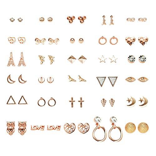 FENICAL Ear Stud Pendientes pequeños y Frescos con Forma de Estrella Animal en Forma de Estrella Anillos de Orejas con 30 Pares