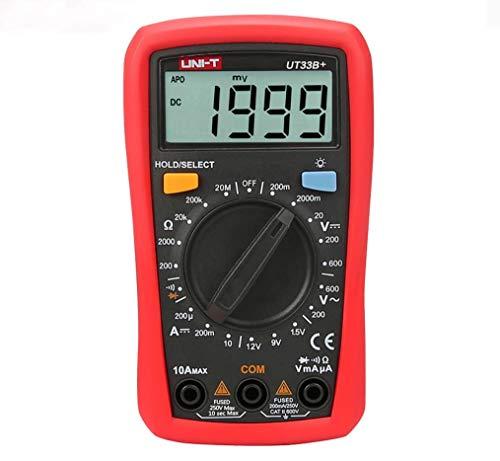 YIONGA CAIJINJIN multímetro Multímetro Digital Manual Rango AC DC 200 mV ~ 600V del Metro del Voltaje de CC 10A Actual probador de la Resistencia del medidor (UT33B +)