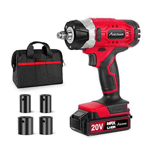 "20V MAX Cordless Impact Wrench with 1/2"" Chuck, Max Torque 230N.m, 4Pcs Driver"