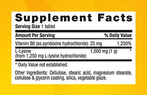 Country Life L-lysine 1000 Mg with b-6, 250-Count