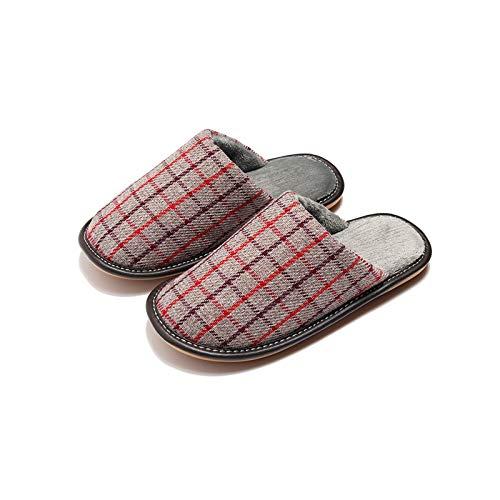 XVXFZEG Cómodo Forro de algodón a cuadros zapatillas de felpa, antideslizante suela de goma de algodón de los deslizadores interiores y exteriores, y los hombres de zapatos calientes de las mujeres en