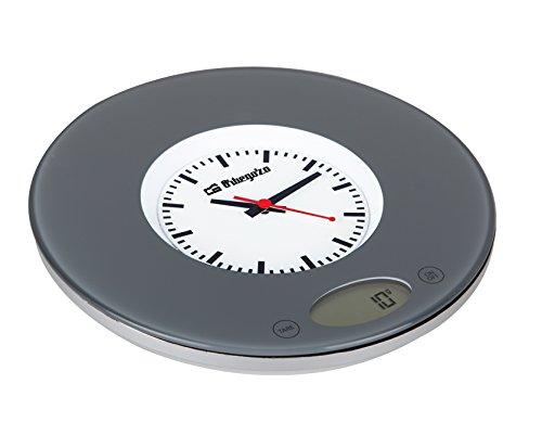 Orbegozo PC 1005 - Báscula de cocina, display digital, sensor táctil, capacidad máx. 3 kg, incorpora reloj, funciona a pilas