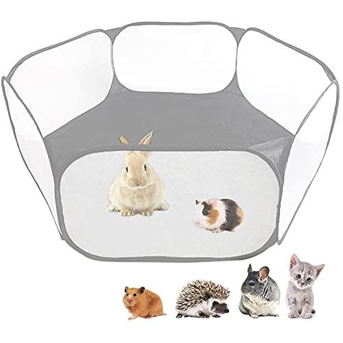 JIAOAO 1 tienda de campaña para animales pequeños, transpirable, transparente, para mascotas, valla de ejercicio al aire libre, valla portátil para conejillo de indias, conejos, hámster, gatos. Gris