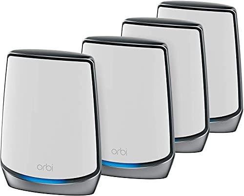 NETGEAR Système WiFi 6 Mesh Tri Bandes Orbi (RBK854), Pack de 4, Routeur WiFi 6 AX6000, WiFi jusqu à 6 Gbit s, Couverture WiFi Mesh ultra performante de 920m², idéal murs épais, compatible toutes box