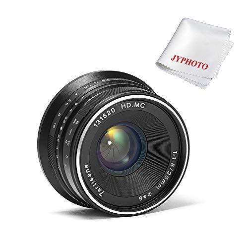 7artisans 25mm F1.8 Manueller Fokus Objektiv für Fuji Kamera X-A1 X-A10 X-A2,X-A3 X-at X-M1 XM2 X-T1 X-T10 X-T2 X-T20 X-Pro1 X-Pro2 X-E1 X-E2 X-E2s mit JYPHOTO Reinigung Set (Schwarz)