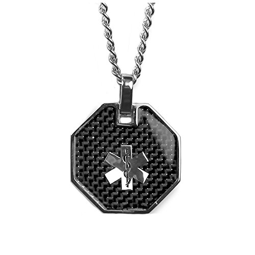 My Identity Doctor - Medical Alert Womens Mens Necklace Pendant - Custom Engraving Diabetes Warfarin Dialysis Stroke Pacemakers, Carbon Finish, 316L Steel, 27in - 68.5cm Chain