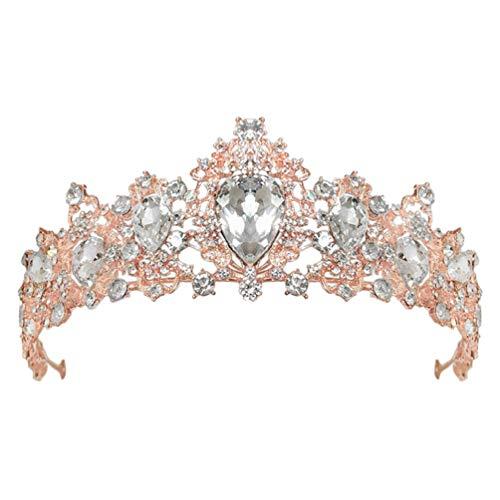 Lurrose Tiara de Boda de Cristal Corona Barroca para Novia Mujeres Boda...