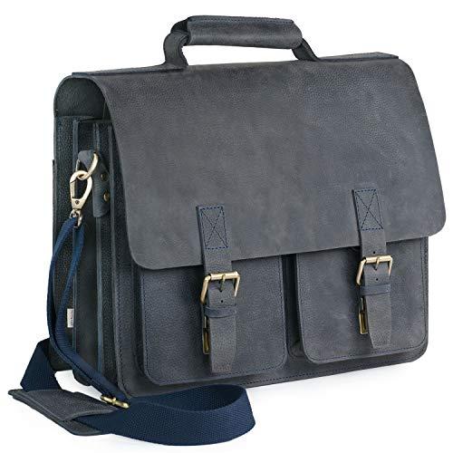 Große Aktentasche Lehrertasche Größe L aus Büffel-Leder, für Damen und Herren, Blau-Schwarz, Jahn-Tasche 420-n
