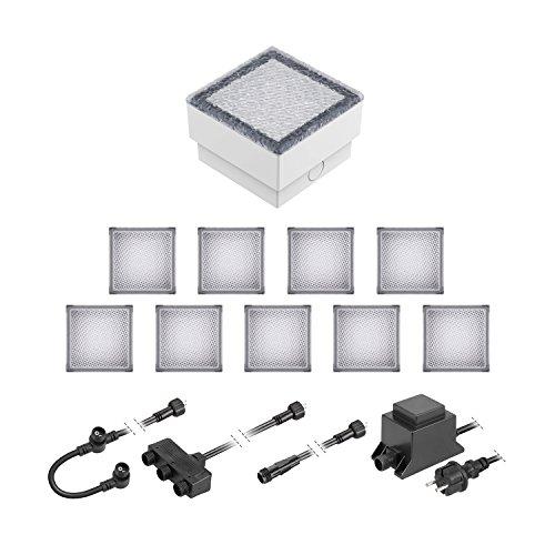 ledscom.de LED Pflaster-Stein Gorgon Boden-Einbauleuchte für außen, 10x10cm, 12V, kalt-weiß 10er Set