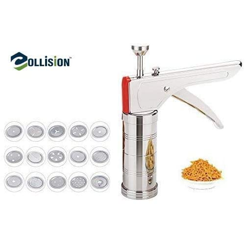 COLLISION Stainless Steel Kitchen Press Grater Cookies/Indian Snakes/Murukku Maker/Farsan Sev Maker with Stailess Steel Jalis-CK136